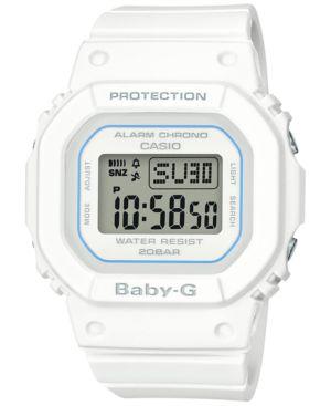 BABY-G Women'S Digital White Resin Strap Watch 40Mm
