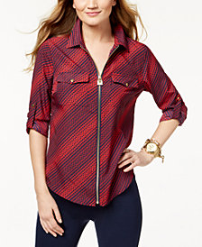 MICHAEL Michael Kors Petite Hardware-Detail Utility Shirt, Created for Macy's