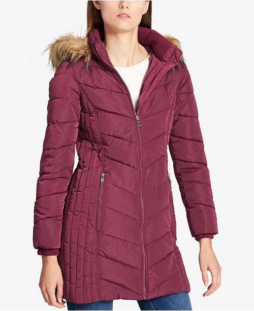 d5c22158a Tommy Hilfiger Faux-Fur-Trim Chevron-Quilted Coat & Reviews - Coats ...