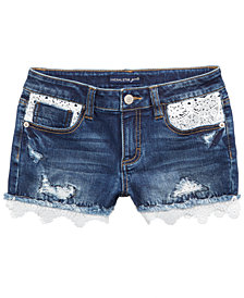 Vanilla Star Crochet-Trim Denim Shorts, Big Girls
