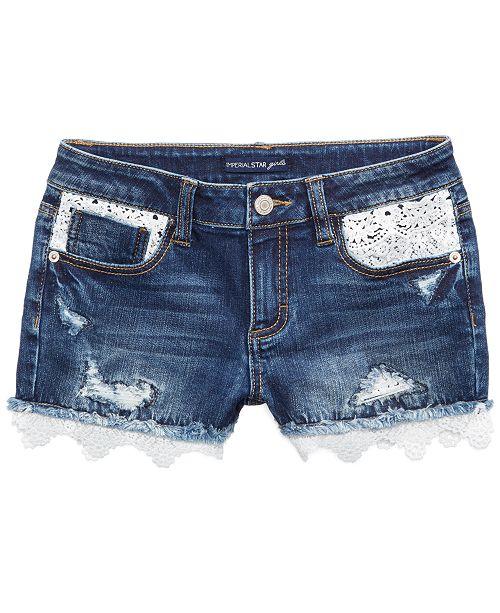 Vanilla Star Crochet-Trim Denim Shorts, Big Girls