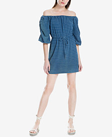 Max Studio London Cotton Striped Off-The-Shoulder Dress, Created for Macy's