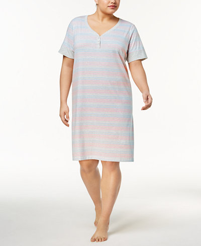 Charter Club Plus Size Banded Sleepshirt, Created for Macy's