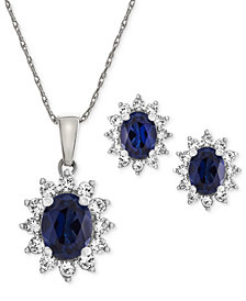 Lab Created Sapphire (2-3/8 ct. t.w.) & White Sapphire (1 ct. t.w.) Pendant Necklace & Stud Earrings in Sterling Silver