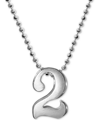 Alex Woo Number 2 Pendant Necklace in Sterling Silver