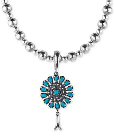 American West Turquoise Blossom Pendant Necklace (3-1/3 ct. t.w.) in Sterling Silver, 7