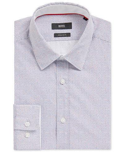 BOSS Men's Regular/Classic-Fit Dotted Cotton Sport Shirt