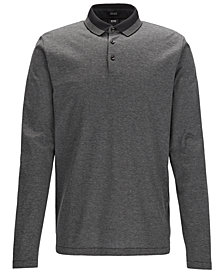 BOSS Men's Regular/Classic-Fit Cotton Long-Sleeve Polo