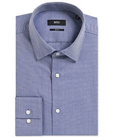 BOSS Men's Slim-Fit Birdseye Cotton Dress Shirt