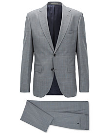 BOSS Men's Regular/Classic-Fit Plaid Virgin Wool Suit