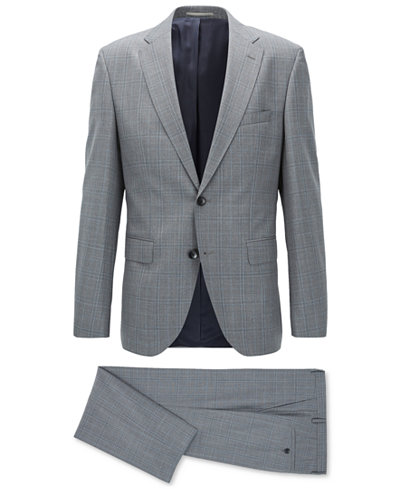 BOSS Men's Regular/Classic-Fit Plaid Virgin Wool Suit