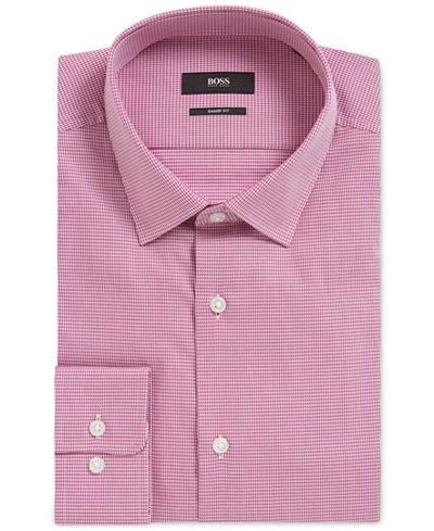 BOSS Men's Slim-Fit Nailhead Cotton Dress Shirt