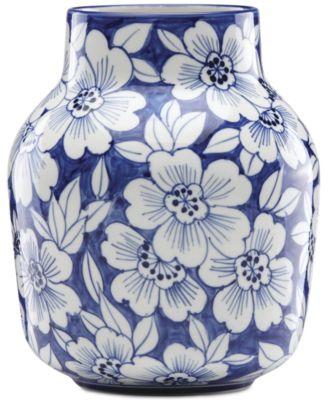 Painted Indigo Floral Tapered Vase