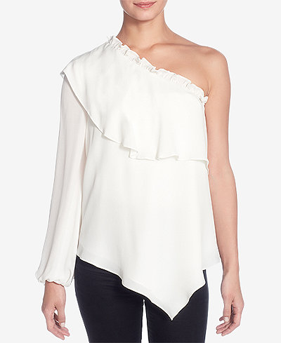 Catherine Malandrino Thelda Silk One-Shoulder Top