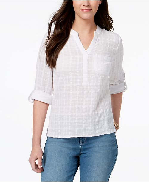 Top amp; Cotton Co Style Bright for Textured Created Macy's White Roll Petite Tab 1qUggR