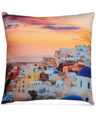 "LAST ACT! Santorini Graphic-Print 18"" Square Decorative Pillow"
