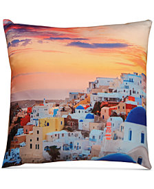 "LAST ACT! Hallmart Collectibles Santorini Graphic-Print 18"" Square Decorative Pillow"