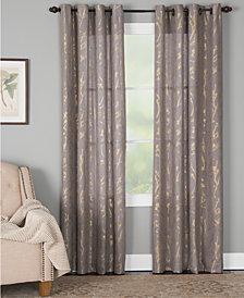 "Miller Curtains Dana 50"" x 63"" Botanical Metallic-Print Window Panel"