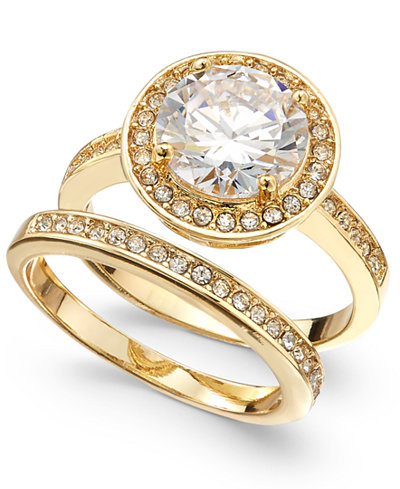 Charter Club Gold-Tone 2-Pc. Set Crystal Halo Ring & Band, Created for Macy's