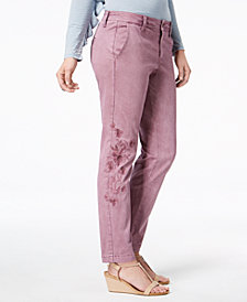 Style & Co Embroidered Skinny Pants, Created for Macy's