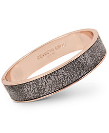 Kenneth Cole New York Rose Gold-Tone Faux Leather Hinged Bangle Bracelet
