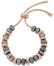 Kenneth Cole New York Two-Tone Black Crystal Beaded Slider Bracelet