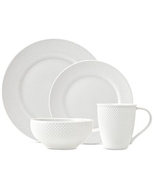 CLOSEOUT! Pique 16-Pc. White Embossed Dinnerware Set, Service for 4