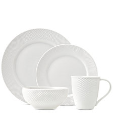 CLOSEOUT! Godinger Pique 16-Pc. White Embossed Dinnerware Set, Service for 4