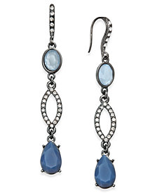 I.N.C. Hematite-Tone Pavé & Blue Stone Linear Drop Earrings, Created for Macy's