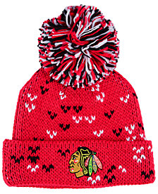 adidas Women's Chicago Blackhawks Cuffed Pom Knit