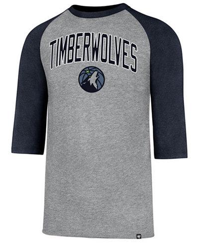 '47 Brand Men's Minnesota Timberwolves Zone Raglan Three-Quarter Sleeve T-Shirt
