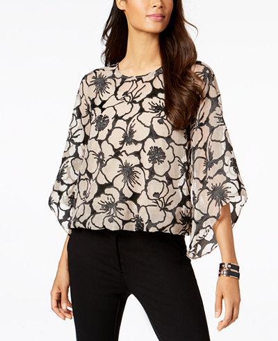 Alfani Petite Floral-Jacquard Angel-Sleeve Top, Created for Macy's