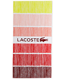 "Lacoste Cocktail Cotton Stripe Logo-Print 36"" x 72"" Beach Towel"