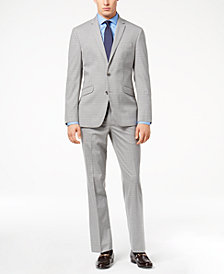 Kenneth Cole Reaction Men's Techni-Cole Light Gray Tonal Check Slim-Fit Suit