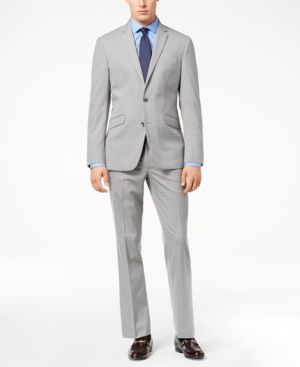 Kenneth Cole Reaction Men's Techni-Cole Light Gray Tonal Check Slim-Fit Suit thumbnail