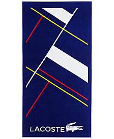 "Lacoste No Limit Cotton Geo-Print 36"" x 72"" Beach Towel"