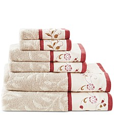 Cotton 6-Pc. Embroidered Serene Jacquard Towel Set