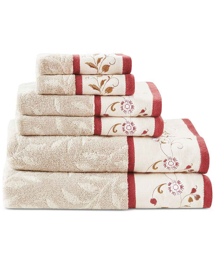 Madison Park - Cotton 6-Pc. Embroidered Jacquard Towel Set