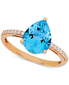 Swiss Blue Topaz (2-2/3 ct. t.w.) & Diamond (1/9 ct. t.w.) Ring in 10k Gold