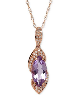 Fine Jewelry Womens Diamond Accent Purple Amethyst 10K Gold Pendant Necklace
