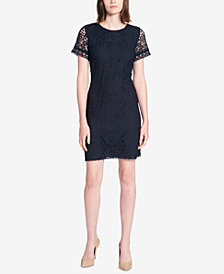 Tommy Hilfiger Grommet-Trimmed Lace Sheath Dress