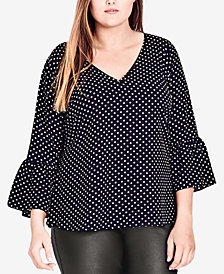 City Chic Trendy Plus Size Polka-Dot Bell-Sleeve Top