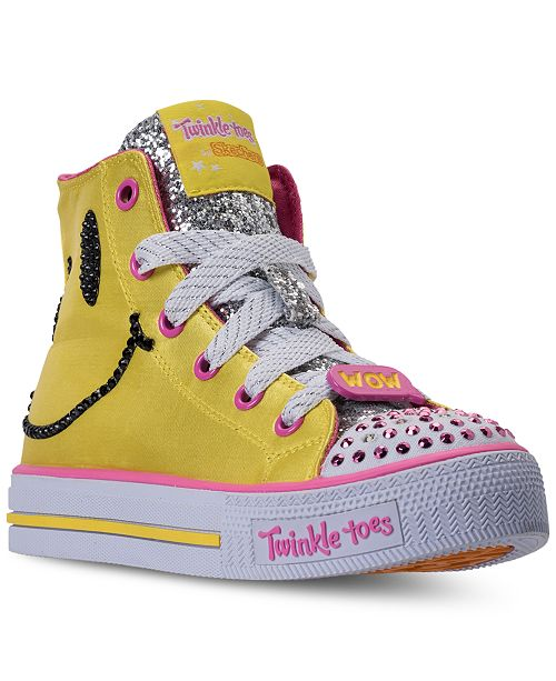 24f8bab7b7ef Skechers Little Girls' Twinkle Toes: Shuffles - Emoji Light-Up High Top  Casual ...