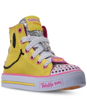 Skechers Little Girls Twinkle Toes Shuffles  Emoji LightUp High Top Casual Sneakers from Finish Line