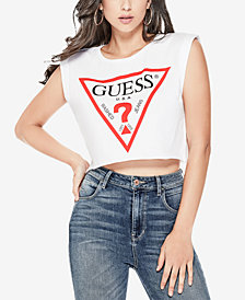 GUESS Cotton Logo Graphic Crop Top