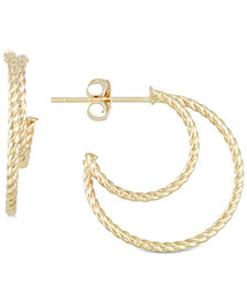 Textured Double Hoop Earrings in 10k Gold
