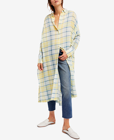 Free People By My Side Oversized Plaid Tunic