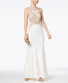 Xscape Beaded & Embroidered Gown