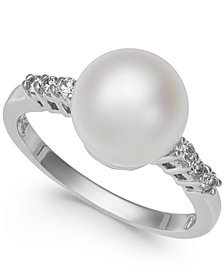 Cultured Freshwater Pearl (9mm) & Diamond (1/8 ct. t.w.) Ring in 14k White Gold