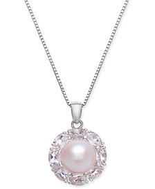 Pink Cultured Freshwater Pearl (10mm) & Morganite (2 ct. t.w.) Pendant Necklace in Sterling Silver